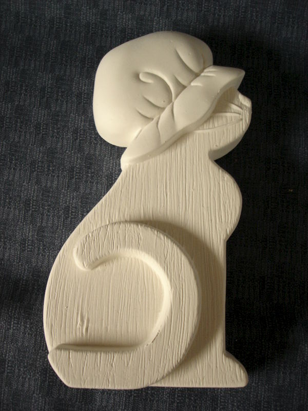 Wood Look Ceramic Cat Ready to Paint Bisque - product images