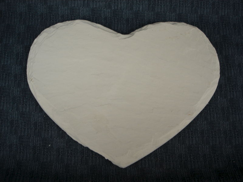 Stone Look Heart Plaque Ready to Paint Ceramic Bisque - product images