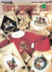 Leisure,Arts,Teddy's,Christmas,Closet,in,Waste,Canvas,Leisure Arts Teddy's Christmas Closet in Waste Canvas,teddy bear,kg krafts,cross stitch,counted cross stitch