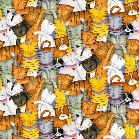 Crazy,Cats,Cotton,Fabric,from,Spectrix,Crazy Catsl Cotton Fabric,kg krafts,quilting,sewing,home decor,crafts