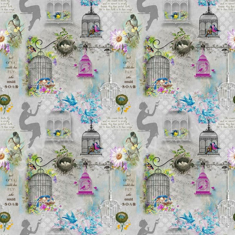 Song Birds Cotton Fabric by Spectrix  - product images