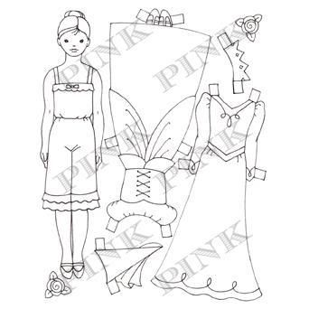 Princess Paperdoll Wood Mounted Rubber Stamp - product image