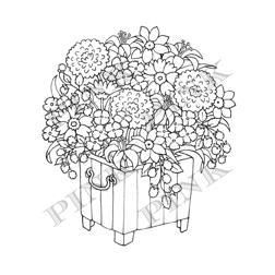 Pink Ink Wood Mounted Rubber Stamp Summer Planter - product image
