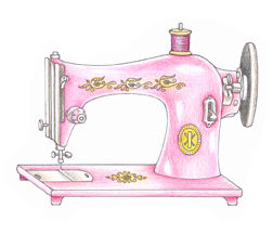 Pink Ink Wood Mounted Rubber Stamp Sewing Machine  - product image