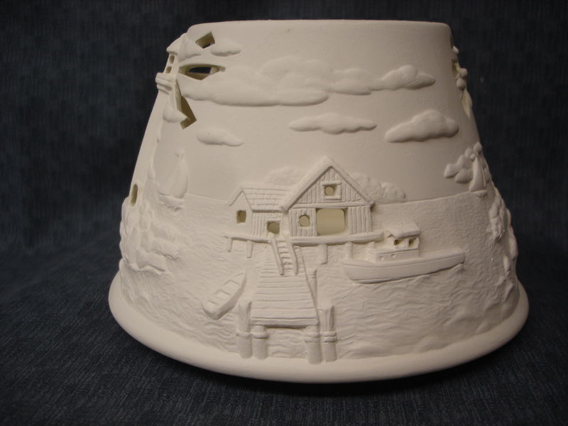 Lighthouse Candle Shade Ceramic Bisque Ready to Paint  - product image