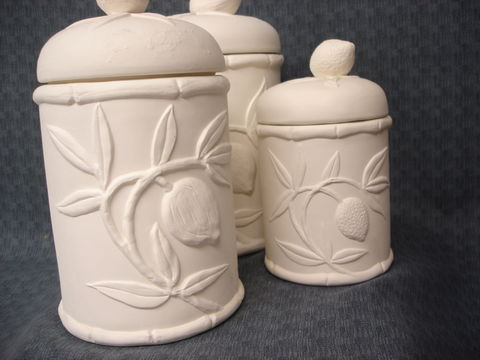 Lemon,and,Fruit,Cannister,Three,Piece,Set,Ceramic,Bisque,Ready,to,Paint,Fruit Basket Cannister set,ceramic., Bisque, Ready to Paint,ready to finish,kg krafts