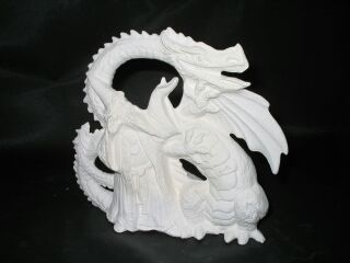 Dragon and Wizard Ready to Paint White Bisque - product images