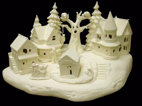 Scioto Haunted Village Complete Set in Ready to Paint Ceramic Bisque - product images