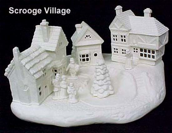 Scioto Scrooge Village Complete Set in Ready to Paint Ceramic Bisque - product images