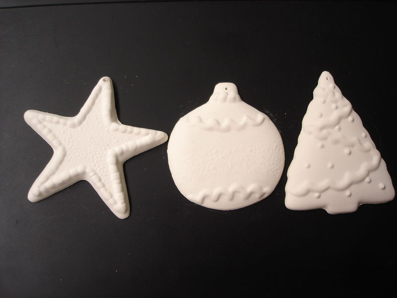 Christmas Ornament Set in Ready to Paint Ceramic Bisque - product images