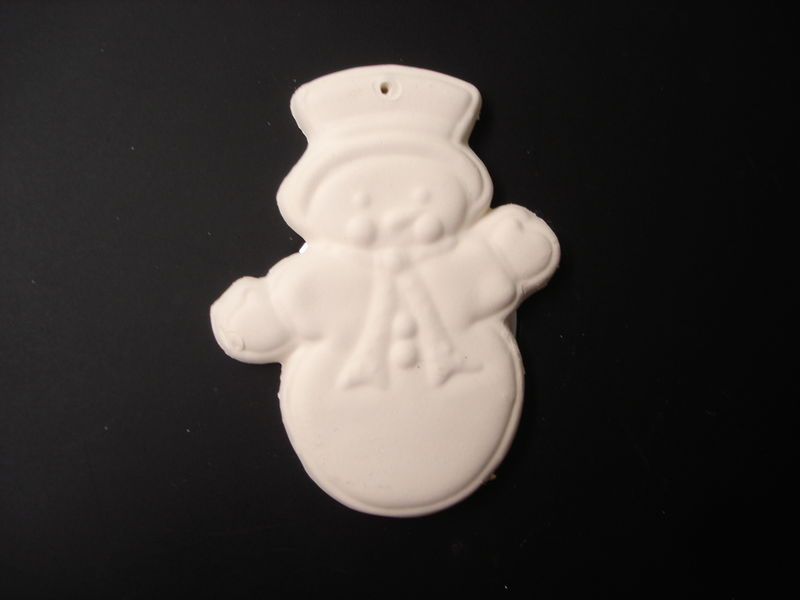 Christmas Ornament Snowman  in Ready to Paint Ceramic Bisque - product images