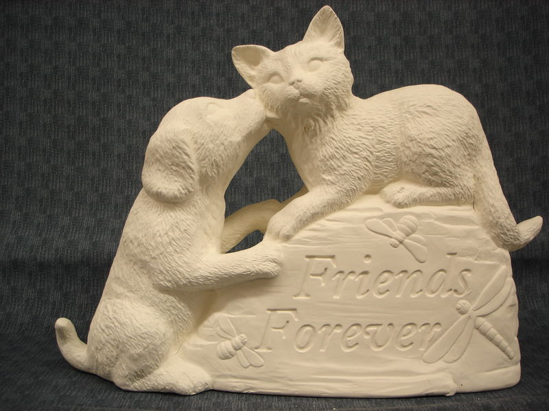 Forever Friends Dog and Cat Stone in Ready to Paint Ceramic Bisque - product images