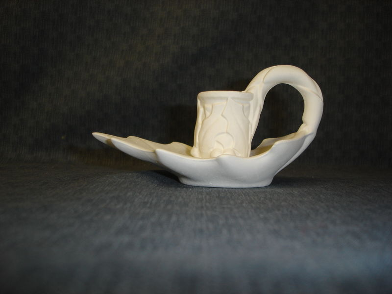 Holly Leaf Candle Holder Ceramic Bisque Ready to Paint - product image