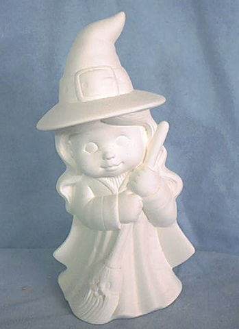 Witch,9,Tall,Dona,Molds,dona molds,witch,ceramic bisque,bisque,ready to paint,kg krafts,painting surface