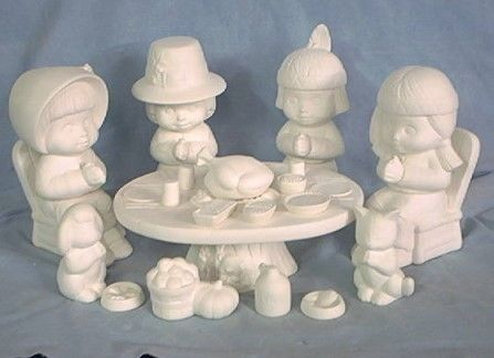 Sweet,Tots,Thanksgiving,Set,Dona,Molds,dona molds,sweet tot,thanksgiving set,ceramic bisque,bisque,ready to paint,kg krafts,painting surface