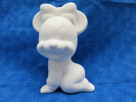 Baby,Minnie,Mouse,Ceramic,Bisque,Disney, Mickey Mouse, ceramic bisque, ready to paint,kg krafts,shower favors