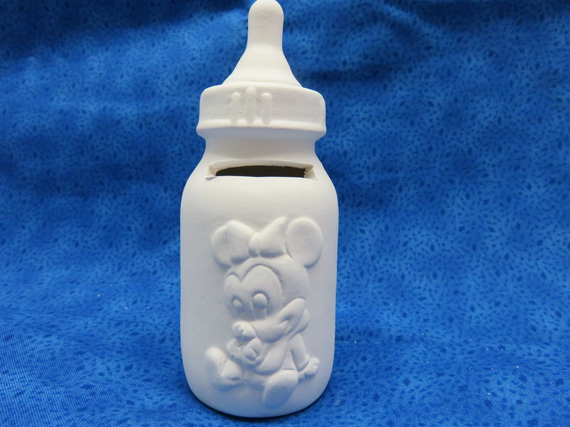Baby Minnie Mouse Bottle Bank Ceramic Bisque - product image