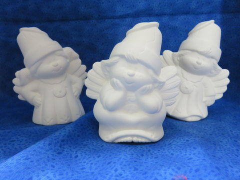 Trio,of,Cracked,Pot,Angels,from,Dona,Molds,Trio of Cracked pot angel,ceramic bisque,kg krafts,ready to paint,baby shower,favor,ornament