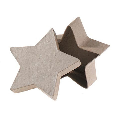 Small Paper Mache Box: Star-Shaped, 3.5 x 1.5 inches - product images