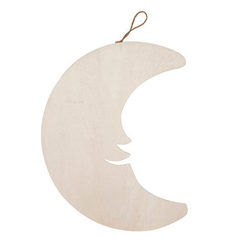 Darice®,Wood,Plaque,with,Hanger,-,Crescent,Moon,wood,cutout,moon,wood moon,kg krafts,ready to paint,darice,pine cutout