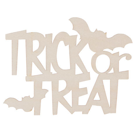 Laser Cut Trick or Treat Wood Cutout - Unfinished - 5 x 3.25 inches - product images