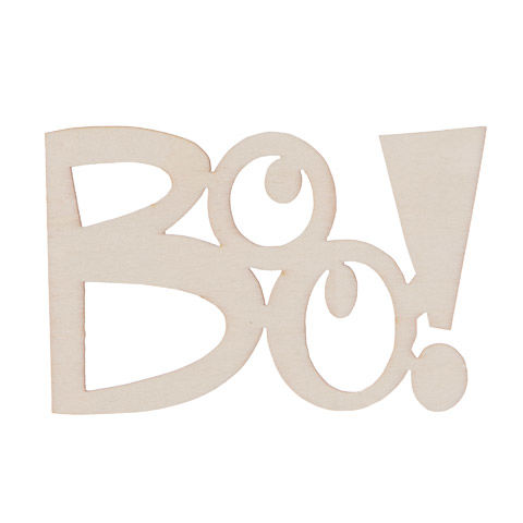 Laser Cut Wood Boo Decorations - Unfinished - 5 x 3.25 inches - product images
