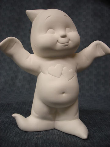 Dona,Molds,Ghost,with,Hearts,Unpainted,Ceramic,Bisque,ceramic bisque,ready to paint,ceramics, bisque,kg krafts,Ghost ,dona molds