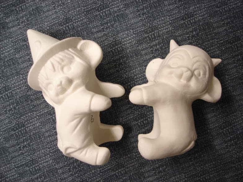 Candle Huggers Witch or Devil in Ready to Paint Ceramic Bisque - product images