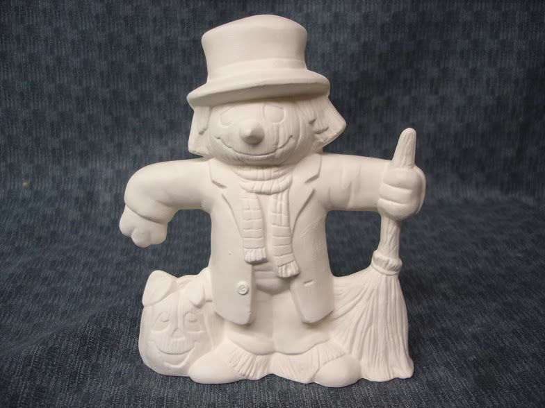 Scarecrow with Pumpkin and Broom in Ready to Paint Ceramic Bisque - product images