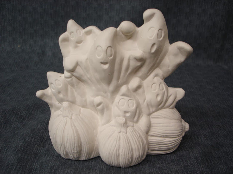 Stack of Ghosts on Pumpkins in Ready to Paint Ceramic Bisque - product images