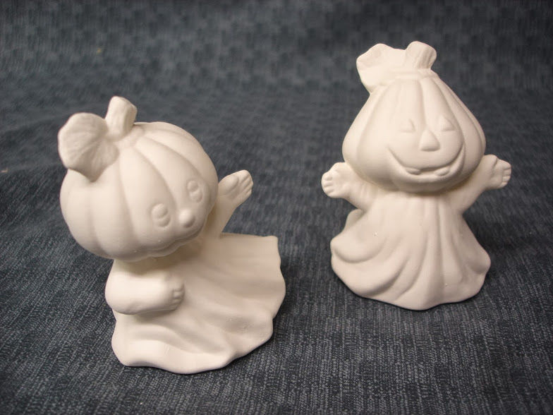 Set of two Pumpkin Ghosts in Ready to Paint Ceramic Bisque - product images