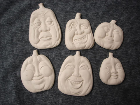 Set,of,six,Pumpkin,Ornaments,in,Ready,to,Paint,Ceramic,Bisque,Scioto Haunted tree Village House,ceramic bisque,ready to paint,ceramics, bisque,kg krafts