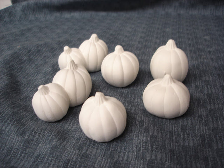 Set of Six Miniature Pumpkins in Ready to Paint Ceramic Bisque - product images