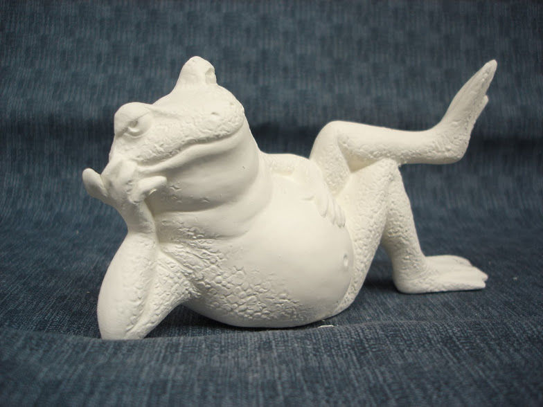 Lounging Frog #2 Frog Ready to Paint Ceramic Bisque - product images