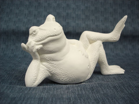 Lounging,Frog,#2,Ready,to,Paint,Ceramic,Bisque,ceramic bisque,ready to paint,ceramics, bisque,kg krafts