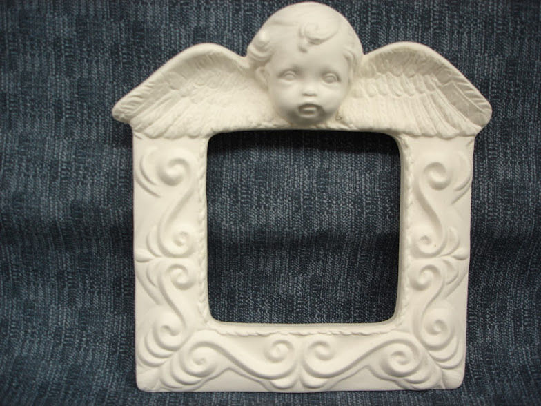 Unpainted Ceramic Bisque Cherub Picture Frame 4 x 4 - product images