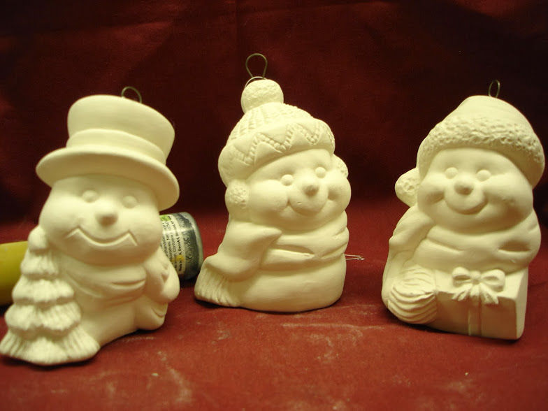 Christmas Ornament Snowmen Set in Ready to Paint Ceramic Bisque - product images