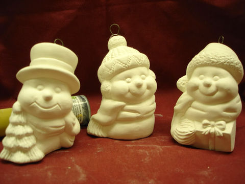 Christmas,Ornament,Snowmen,Set,in,Ready,to,Paint,Ceramic,Bisque,Christmas ornaments,snowmen,ceramic bisque,ready to paint,ceramics, bisque,kg krafts