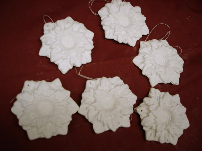 Christmas Ornament Pointsettia Set in Ready to Paint Ceramic Bisque - product images