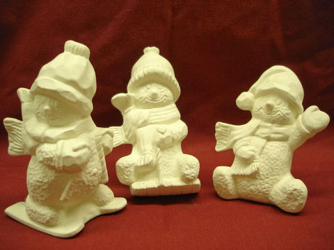 Snowmen,set,of,three,Unpainted,Ceramic,Bisque,ceramic bisque,ready to paint,ceramics, bisque,kg krafts,snowmen