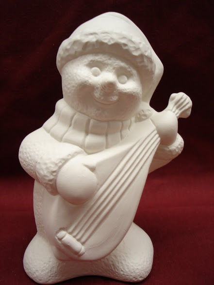 Snowmen Playing Instrument   Unpainted Ceramic Bisque - product images