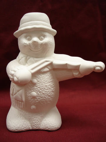 Snowmen,Playing,Violin,Unpainted,Ceramic,Bisque,ceramic bisque,ready to paint,ceramics, bisque,kg krafts,snowmen