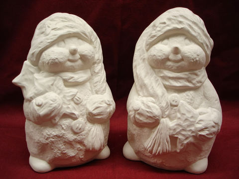 Snowmen,Holding,Stars,set,of,2,Unpainted,Ceramic,Bisque,ceramic bisque,ready to paint,ceramics, bisque,kg krafts,snowmen