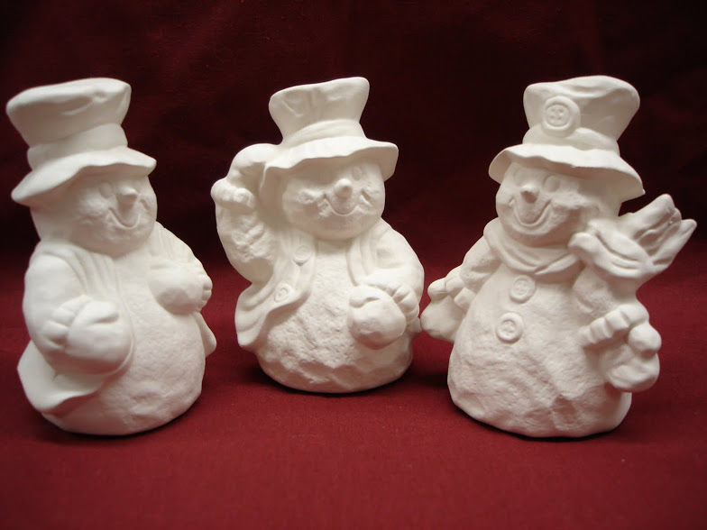 Snowmen Trio with Top Hats   Unpainted Ceramic Bisque - product images