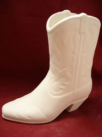 Cowboy,Boot,Unpainted,Ceramic,Bisque,ceramic bisque,ready to paint,ceramics, bisque,kg krafts,cowboy boot