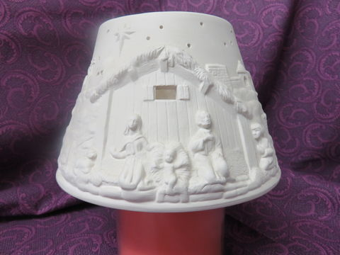 Navitity,Lamp,Shade,Unpainted,Ceramic,Bisque,ceramic bisque,ready to paint,ceramics, bisque,kg krafts,nativity lampshade