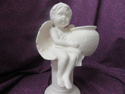 Cherub,Sitting,Holding,Planter,Unpainted,Ceramic,Bisque,ceramic bisque,ready to paint,ceramics, bisque,kg krafts,cherub, lampshade