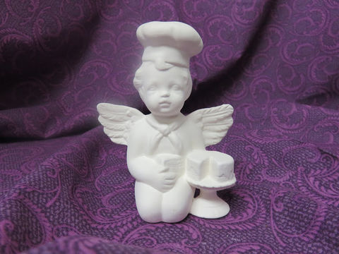 Baker,Cherub,Unpainted,Ceramic,Bisque,ceramic bisque,ready to paint,ceramics, bisque,kg krafts,cherub, baker
