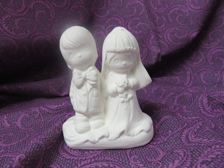 Bride and Groom Wedding Topper Unfinished Ceramic Bisque ready to paint - product images