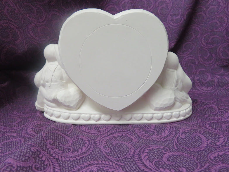Bunnies with Heart Bank in Ceramic Bisque - product image